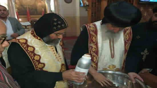 Bishops of Sharkia and Mit Ghamr perfumes the remains of St. Phelopatir