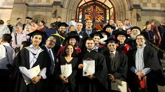 A Coptic priest among the graduates of the St. Athanasius Theological Seminary in Melbourne
