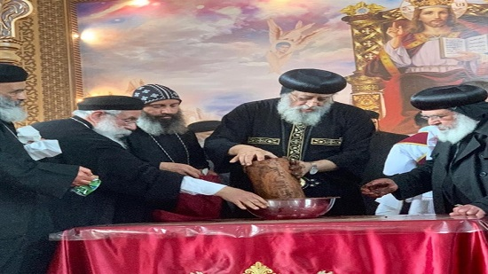 Pope Tawadros perfumes the remains of St. Athanasius in Germany