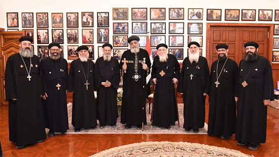 Pope Tawadros receives priests of the Church of the Virgin in Ezbet al-Nakhl