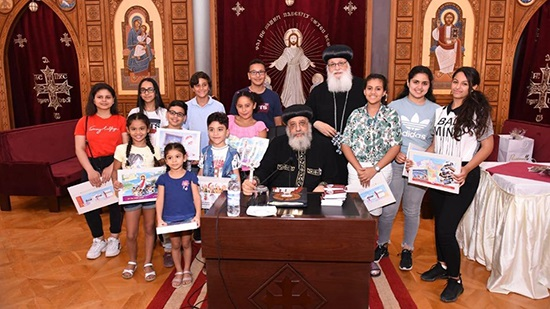 Pope Tawadros receives a group of Copts from the Netherlands