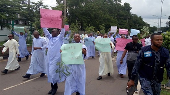 Priests of Enugu in Nigeria protest in front of state government headquarters
