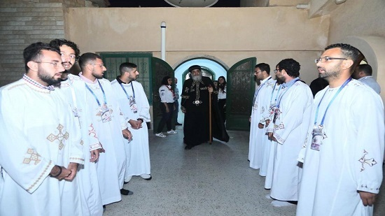 International Youth delegation welcome Pope Tawadros before his weekly sermon