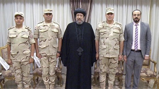 Bishop Ermia receives delegation of the Egyptian army at the Coptic Cultural Center