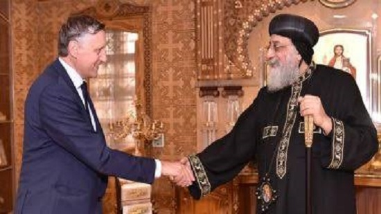 Pope Tawadros receives the new German ambassador in Egypt