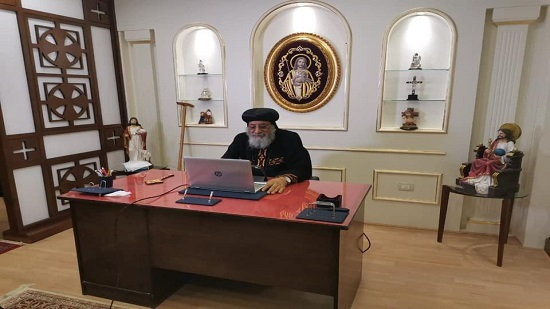 Pope Tawadros holds online meeting with priests of Montazah Churches