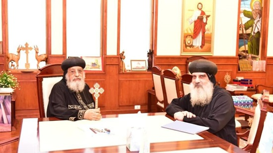 Pope Tawadros receives Bishops Theodosius and Yusab
