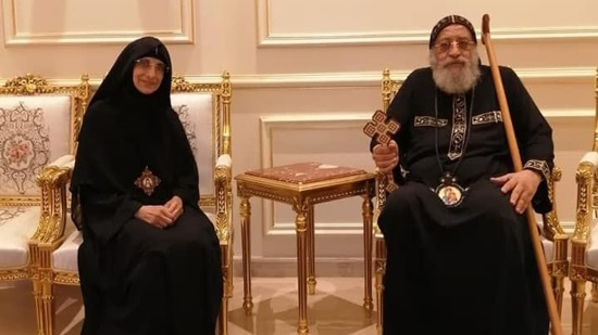 Pope Tawadros receives the Head the Virgin monastery in Zwaila