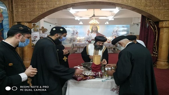 Bishop of Suez perfumes the remains of St. George