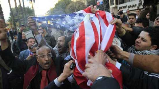 Egyptians demonstrate against American government before U.S. Consulate in Australia